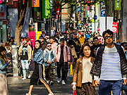 14 OCTOBER 2018 - SEOUL, SOUTH KOREA: Scenes of the neighborhood around Myeongdong Street between the Cathedral and City Hall in Seoul. It's a high end shopping, dining and entertainment district, popular with tourists and wealthy South Koreans. PHOTO BY JACK KURTZ