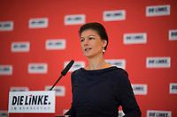 DEU, Deutschland, Germany, Berlin, 14.02.2017: Dr. Sahra Wagenknecht, Vorsitzende der Bundestagsfraktion von DIE LINKE, bei einem Pressestatement vor Beginn der Fraktionssitzung der Linkspartei im Deutschen Bundestag.