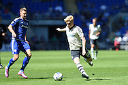 Ben Pringle of Fulham in action (18). Skybet football league championship match, Cardiff city v Fulham at the Cardiff city stadium in Cardiff, South Wales on Saturday 8th August  2015.<br /> pic by Andrew Orchard, Andrew Orchard sports photography.