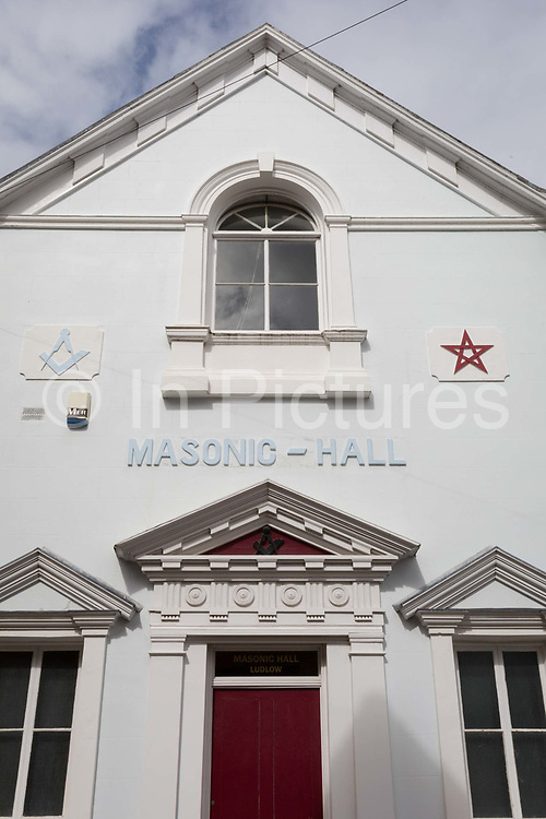 The exterior, architecture and Masons symbols of a Masonic Hall, on 11th September 2018, in Brand Lane, Ludlow, Shropshire, England UK.