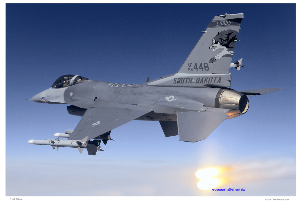 F-16C firing flares, air-to-air
