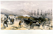 The Railway at Balaklava. From William Simpson 'Illustrations of the War in the East', London 1855-1856. Tinted lithograph. Unloading supplies from shiping in Balaklava harbour. Crimean War (Russo-Turkish War) 1853-1856.
