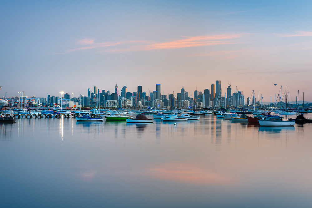 Sunrise over Melbourne skyline from Williamstown