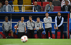 England's head coach Gareth Southgate and staff during the 1/8 final game between Colombia and England at the 2018 FIFA World Cup in Moscow, Russia on July 3, 2018. Photo by Lionel Hahn/ABACAPRESS.COM