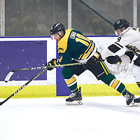 1st year defence man, Mike Eskra (10) of the Regina Cougars during the Men's Hockey Home Game on Sat Jan 19 at Co-operators Center. Credit: Arthur Ward/Arthur Images
