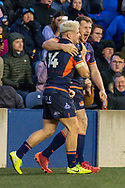 Darcy Graham (#14) of Edinburgh Rugby celebrates with Mark Bennett (#13) of Edinburgh Rugby after scoring the final try during the 1872 Cup second leg Guinness Pro14 2019_20 match between Edinburgh Rugby and Glasgow Warriors at BT Murrayfield Stadium, Edinburgh, Scotland on 28 December 2019.