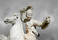 Roman marble sculpture of a warrior on horseback, a 2nd century AD copy from an original 2nd century BC Hellanistic Greek original, inv 6405 Farnese Collection, Naples  Museum of Archaeology, Italy ..<br /> <br /> If you prefer to buy from our ALAMY STOCK LIBRARY page at https://www.alamy.com/portfolio/paul-williams-funkystock/greco-roman-sculptures.html . Type -    Naples    - into LOWER SEARCH WITHIN GALLERY box - Refine search by adding a subject, place, background colour, etc.<br /> <br /> Visit our ROMAN WORLD PHOTO COLLECTIONS for more photos to download or buy as wall art prints https://funkystock.photoshelter.com/gallery-collection/The-Romans-Art-Artefacts-Antiquities-Historic-Sites-Pictures-Images/C0000r2uLJJo9_s0