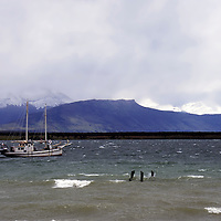 Americas, South America, Chile, Puerto Natales. Lone boat on a cold sea of Magellanic Straits.