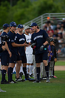 KELOWNA, CANADA - JUNE 28: NHL Nashville Predators player Ryan Johansen fist bumps teammates during introductions of the opening charity game of the Home Base Slo-Pitch Tournament fundraiser for the Kelowna General Hospital Foundation JoeAnna's House on June 28, 2019 at Elk's Stadium in Kelowna, British Columbia, Canada.  (Photo by Marissa Baecker/Shoot the Breeze)