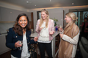 MAHIMA RAWAT; TESSA HARDY; GRACE RACKHAM, Charlie Gilkes and Duncan Stirling host Inception Group's Hamptons Garden party on the rooftop garden of the Ballymore marketing suite overlooking the site of the new US embassy. Embassy Gardens, London SW8.  12 July 2012.