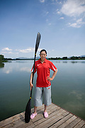 Women Kayaker Yang Yali in Yanqing, where she is training for the Beijing 2008 Olympics.