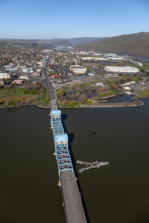 Licensing - Open Edition Prints<br /> Aerial view of bridge connecting Clarkston, Washington to Lewiston, Idaho crossing over the Snake River as it exits Hells Canyon to the South and joins the Clearwater coming from  the east