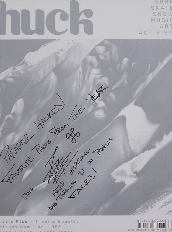 Scott Serfas cover image of Travis Rice for Huck Magazine.