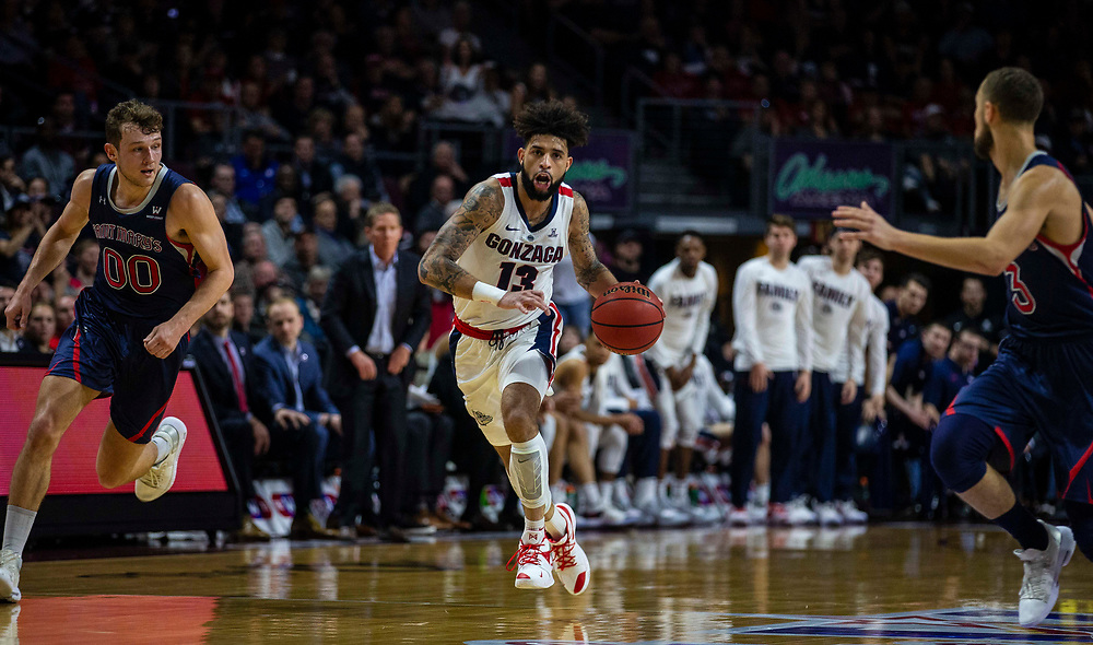 Mar 12 2019  Las Vegas, NV, U.S.A.Gonzaga guard Josh Perkins (13) brings the ball up court during the NCAA  West Coast Conference Men's Basketball Tournament championship between the Gonzaga Bulldogs and the Saint Mary's Gaels 47-60 lost at Orleans Arena Las Vegas, NV.  Thurman James / CSM