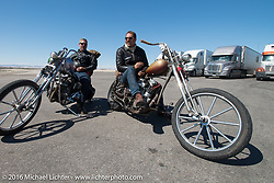 Bill Buckingham at a truckstop on his 1923 Harley-Davidson J model custom chopper (that won top honors at Born Free 6) along with Sean Duggan on his 1936 Harley-Davidson Knucklehead chopper during stage 11 (289 miles) of the Motorcycle Cannonball Cross-Country Endurance Run, which on this day ran from Grand Junction, CO to Springville, UT., USA. Tuesday, September 16, 2014.  Photography ©2014 Michael Lichter.