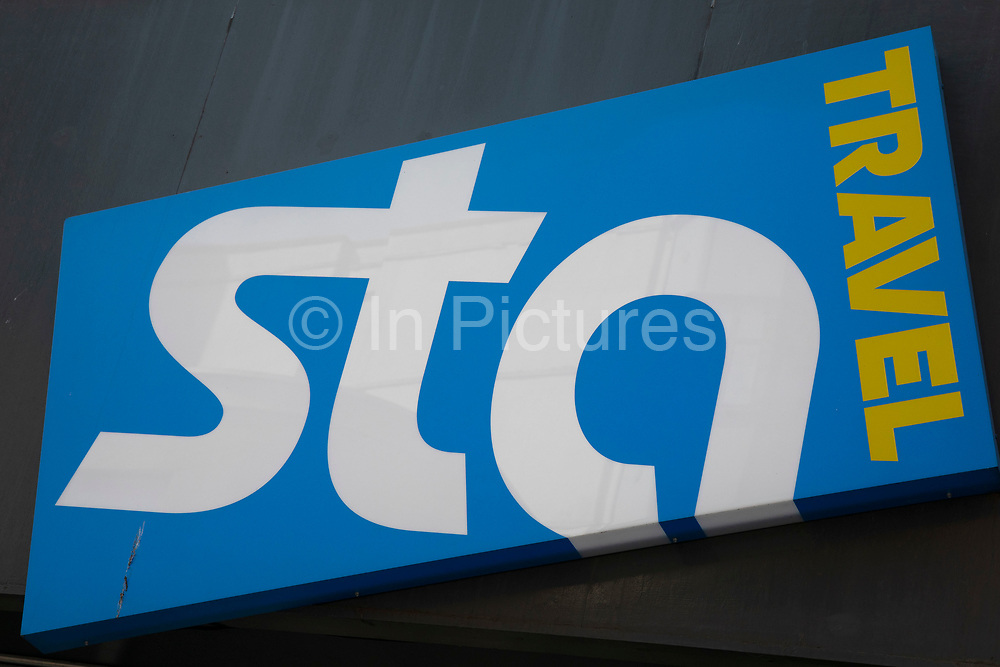 Sign for the brand STA Travel in Birmingham, United Kingdom.