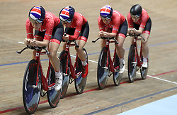 Team Breeze (left-right)Jessica Roberts, Rebecca Raybould, Jenny Holl and Abigail Dentus, on their way to qualifying 1st in the Women's Team Pursuit, during day two of the HSBC UK National Track Championships at The National Cycling Centre, Manchester. PRESS ASSOCIATION Photo. Picture date: Saturday January 27, 2018. Photo credit should read: Martin Rickett/PA Wire