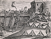 Roman soldiers attacking the walls of a fortress with scaling ladders, slings and spears, while the defenders are holding them off with nets, hot liquid, spears and various missiles. From 'Poliorceticon sive de machinis tormentis telis' by Justus Lipsius  (Joost Lips), Antwerp, 1605.