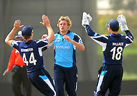 ICC World Twenty20 Qualifier UAE 2012.Scotland take on Italy at the Global Cricket Academy, Dubai, in their 6th game of the tournament..Pic shows Scotland's Matthew Parker celebrates taking the wicket of Italiand opener, Michael Di Venuto, for 8 runs..