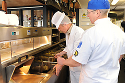 Willie Rennie, St Andrews, 24-4-2017<br /> <br /> Willie Rennie learns how to make fish and chips at Cromars in St Andrews, seen with Colin Cromar<br /> <br /> (c) David Wardle | Edinburgh Elite media