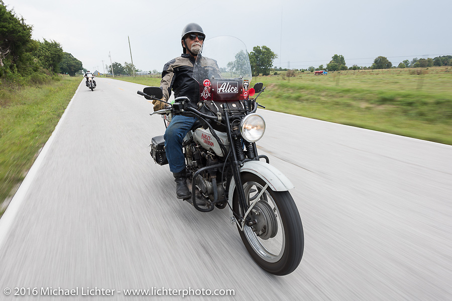 Mike Bell of Texas riding his 1916 Harley-Davidson during the Motorcycle Cannonball Race of the Century. Stage-6 from Cape Girardeau, MO to Springfield, MO. USA. Thursday September 15, 2016. Photography ©2016 Michael Lichter.