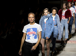 Adwoa Aboah leads the models on the catwalk during the TOPSHOP London Fashion Week SS18 show held at Topshop Showspace, London