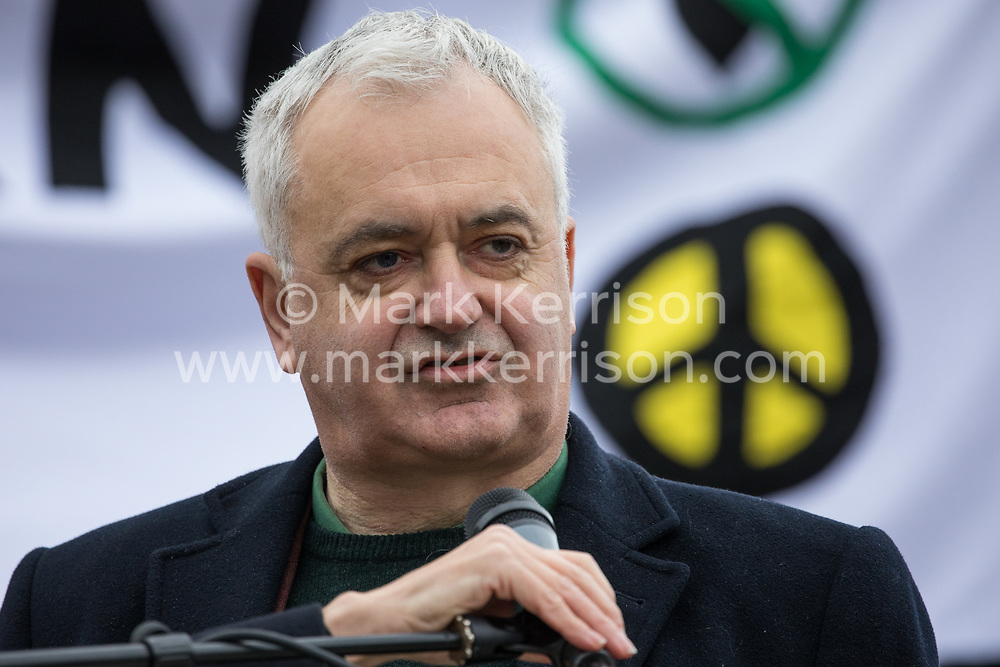 London, UK. 11 January, 2020. Andrew Murray of Unite addresses the No War on Iran demonstration in Trafalgar Square organised by Stop the War Coalition and the Campaign for Nuclear Disarmament to call for deescalation in the Middle East following the assassination by the United States of Iranian General Qassem Soleimani and the subsequent Iranian missile attack on US bases in Iraq.