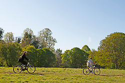 ©Licensed to London News Pictures 21/04/2020  <br /> Sidcup, UK. Two cyclists enjoying a bike ride. A sunny morning at Foots Cray Meadows in Sidcup, South East London as people get out of the house from coronavirus lockdown to exercise. Photo credit:Grant Falvey/LNP