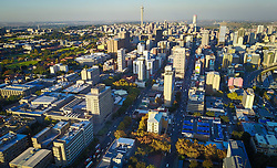 JOHANNESBURG, April 21, 2017  Photo taken on April 20, 2017 shows an aerial view of Johannesburg Town, South Africa. The City of Johannesburg Local Municipality is situated in the northeastern part of South Africa with a population of around 4 million. Being the largest city and economic center of South Africa, it has a reputation for its man-made forest of about 10 million trees.  gl) (Credit Image: © Xinhua via ZUMA Wire)