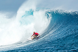 11X World Champion and 5X event winner Kelly Slater of the USA advanced to Round Three of the Outerknown Fiji Pro after defeating rookie Ethan Ewing of Australia in Heat 5 of Round Two in excellent overhead conditions at Cloudbreak.