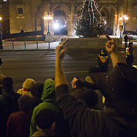 Protesters demonstrate against the newly modified Basic Law that replaced the country's constitution on jan 1 during an anti-government protest in front of the Hungarian State Opera House in Budapest, Hungary on January 02, 2012. ATTILA VOLGYI