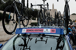 May 4, 2018 - Jerusalem, Israel - The 101st edition of Giro d'Italia, the Corsa Rosa, begins today in Jerusalem, outside the Old City and below the Tower of David, history being made with the first ever Grand Tour start outside of Europe. Competing riders set out for the 9.7Km Jerusalem Individual Time Trial Stage 1. (Credit Image: © Nir Alon via ZUMA Wire)