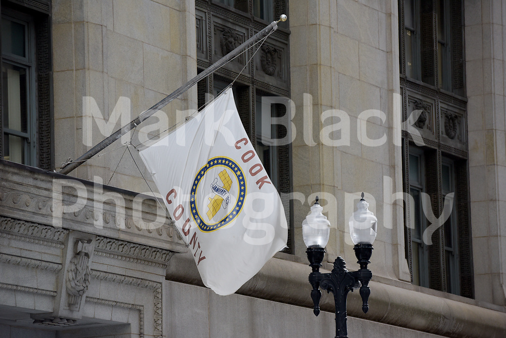 The Flag of Cook County Building in Chicago, Illinois. Photo by Mark Black