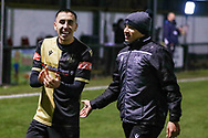 Marine players celebrate winning the match  during the The FA Cup match between Marine and Havant & Waterlooville FC at Marine Travel Arena, Great Crosby, United Kingdom on 29 November 2020.