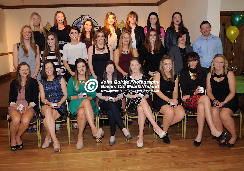 01/02/2014. Meath Camogie Presentation night; The All-Ireland Junior B-winning Meath camogie players who received their medals in Ratoath on Saturday night (from left) were: back - Jade Fitzsimons, Michelle Montague, Cliodhna O'Riordan, Michelle Daly, Eimear Daly, Eimear O'Shea, Emily Bray; Middle -  Sinead Beagan, Muireann O'Hora, Aoife McCormack, Áine Brennan, Lisa Malervy, Rebecca Scanlon, Lynn Winters, GT Troy (manager); front - Louise Griffin, Leanne Winters, Jade Martyn, Lisa Carroll, Emma McGill, Lauren McCann, Sinead Broderick, Michelle Boyle. : Alan Russell / www.quirke.ie ©John Quirke Photography, Unit 17, Blackcastle Shopping Cte. Navan. Co. Meath. 046-9079044 / 087-2579454.