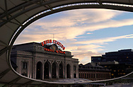 Denver's Union Station is seen at sunset in downtown Denver, Colorado U.S. November 1, 2017. REUTERS/Rick Wilking