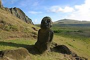Rano Raku, Moai (statue) Quarry, Easter Island (Rapa Nui), Chile<br />