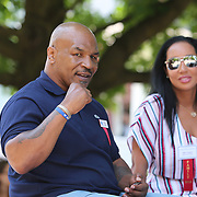 CANASTOTA, NY - JUNE 10:  Boxer Mike Tyson is seen during the parade of champions at the International Boxing Hall of Fame for the Weekend of Champions induction event on June 10, 2018 in Canastota, New York. (Photo by Alex Menendez/Getty Images) *** Local Caption *** Mike Tyson