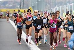 NYC Marathon, lead pack of women mile one, Linden, Goucher, Kastor