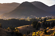 Pastoral landscape at autumn time around a village in the mountain
