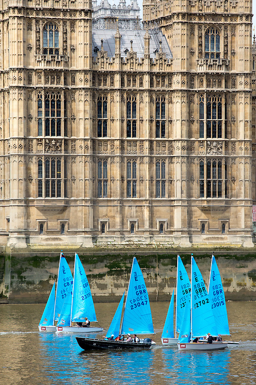 © Licensed to London News Pictures. 08/06/2016. London, UK. The Parliamentary charity sailing race on the River Thames. The House of Commons race the House of Lords to raise money and awareness for the Westminster Boating Base and Sail 4 Cancer. Photo credit : Tom Nicholson/LNP