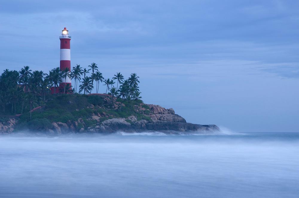 Kovalam lighthouse at dusk, Kerala, South India