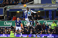 Henri Saivet of Newcastle United gets his head to the ball. Barclays Premier League match, Everton v Newcastle United at Goodison Park in Liverpool on Wednesday 3rd February 2016.<br /> pic by Chris Stading, Andrew Orchard sports photography.
