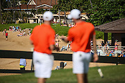 Doc Redman of Clemson and his coach take in the view on number five green during the first round of the 3rd annual Kaanapali Classic collegiate invitational. Kaanapali Royal Course Lahaina, Hawaii November 4th, 2016/ Photo by Aric Becker