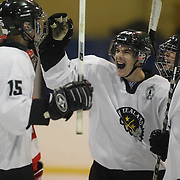 Andrew Gouldstone, New Zealand, (left) is congratulated after scoring by team mates James Currey, (centre) and Shaun Harrison, (right) during the New Zealand V Turkey match during the 2012 IIHF Ice Hockey World Championships Division 3 held at Dunedin Ice Stadium. Dunedin, Otago, New Zealand. 22nd January 2012. Photo Tim Clayton