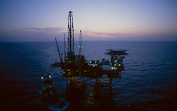 Stock photo of an offshore jack-up drilling rig
