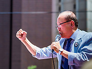 16 JUNE 2018 - SEOUL, SOUTH KOREA: A South Korean evangelical minister leads a prayer in support of US President Donald Trump during a protest against South Korean President Moon Jae-in. Most of the protesters support jailed former President Park Geun-hye. President Moon Jae-in was elected in 2017 after Park was impeached, tried and convicted on corruption charges. The protesters allege that Moon is too soft on North Korea and can't be trusted to negotiate with North Korean leader Kim Jong-un. They support US President Donald Trump's efforts to negotiate with the North Korean strongman.  PHOTO BY JACK KURTZ