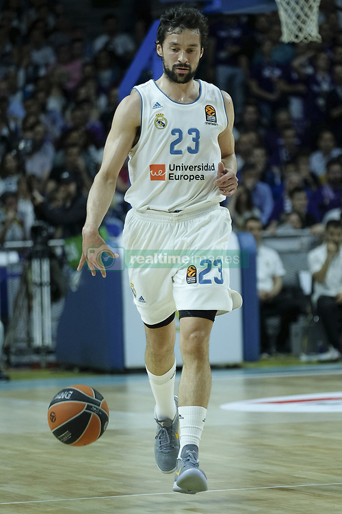April 27, 2018 - Madrid, Spain - SERGIO LLULL  of Real Madrid during the 2017/2018 Turkish Airlines Euroleague Play Off Leg Four between Real Madrid v Panathinaikos Superfoods Athens at WiZink Center on April 27, 2018 in Madrid, Spain Photo: Oscar Gonzalez/NurPhoto  (Credit Image: © Oscar Gonzalez/NurPhoto via ZUMA Press)