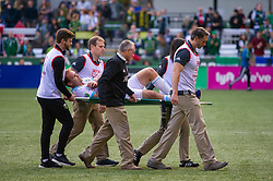 November 4, 2018 - Portland, OR, U.S. - PORTLAND, OR - NOVEMBER 04: Seattle Sounder's defender Chad Marshal (14) is taken out in a stretcher during the Portland Timbers first leg of the MLS Western Conference Semifinals against the Seattle Sounders on November 04, 2018, at Providence Park in Portland, OR. (Photo by Diego Diaz/Icon Sportswire) (Credit Image: © Diego Diaz/Icon SMI via ZUMA Press)