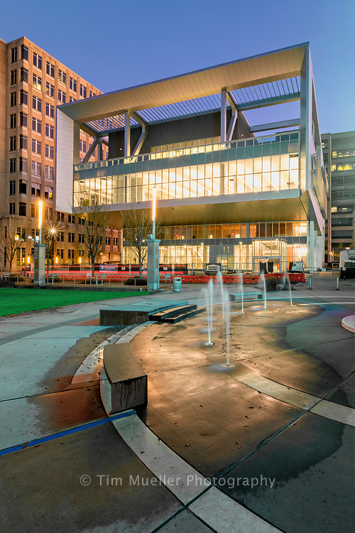 The nearly completed River Center Branch Library enhances North Boulevard Town Square in Baton Rouge, La.